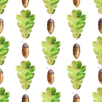 Watercolor seamless pattern with green oak leaves and acorns.