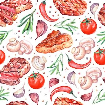 グリルしたビーフステーキ、マッシュルームシャンピニオン、コショウ、トマト、ローズマリーの水彩画のシームレスなパターン。白で隔離の手描きイラスト。