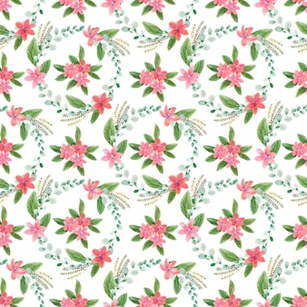 Watercolor seamless pattern with handdrawn flowers and leaves