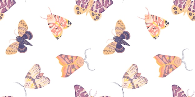 Watercolor seamless pattern with illustration of butterflies moths isolated on white background