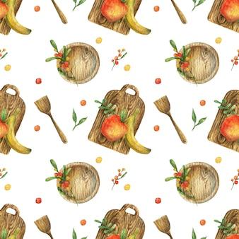 果物(リンゴ、バナナ)と木製の調理器具(プレート、ボード、ヘラ)のイラストと水彩のシームレスなパターン。健康食品。菜食主義。