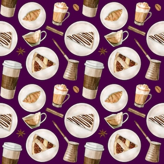 Watercolor seamless pattern with illustrations of coffee cup, coffee beans