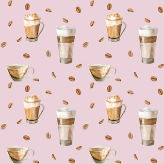 Watercolor seamless pattern with illustrations of coffee cup