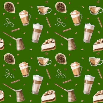 Watercolor seamless pattern with illustrations of coffee cup,