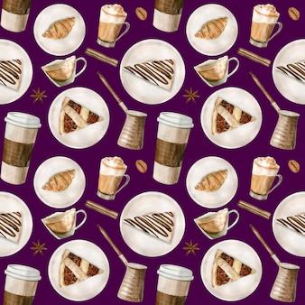 コーヒーカップ、コーヒー豆のイラストを水彩のシームレスパターン