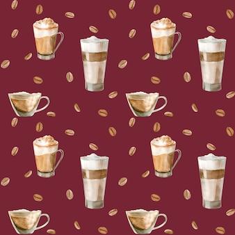 コーヒーのイラストと水彩のシームレスパターン