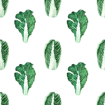 Watercolor seamless pattern with images of various types of cabbage. heads and leaves of peking and white cabbage