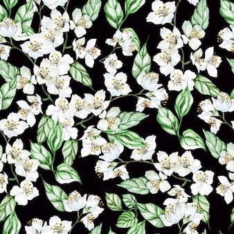 ジャスミンと葉の水彩画のシームレスなパターン。図