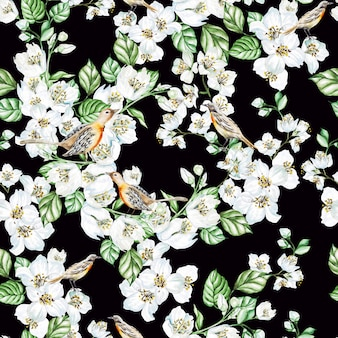Watercolor seamless pattern with  jasmine flowers, birds.  illustration