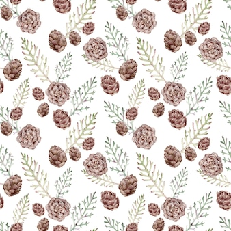 주니퍼 지점과 콘 수채화 완벽 한 패턴입니다. 겨울 숲 배경입니다. 크리스마스와 새해의 식물 패턴.
