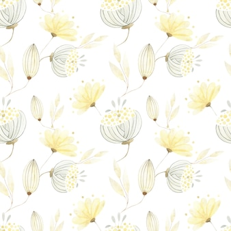大きな抽象的な金の花と葉と水彩のシームレスなパターン