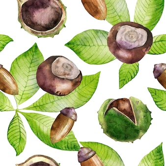 Watercolor seamless pattern with leaves, acorn and chestnuts.