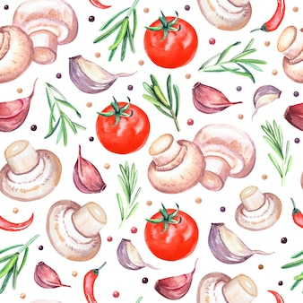 Watercolor seamless pattern with mushrooms champignons, rosemary, tomato and garlic. hand drawn illustration isolated on white background.