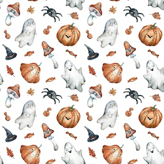 Watercolor seamless pattern with orange halloween candies