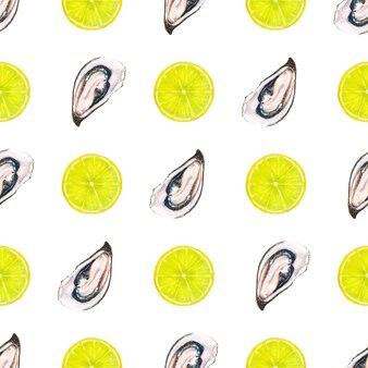 Акварель бесшовные модели с устрицами и ломтиком лимона на белой поверхности