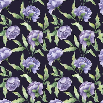 Watercolor seamless pattern with peony buds lilac peony flowers with leaves on a dark background