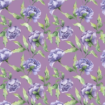 Watercolor seamless pattern with peony buds lilac peony flowers with leaves on a purple background