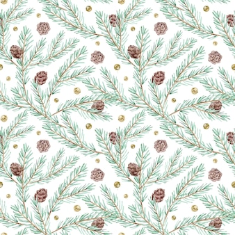 Watercolor seamless pattern with pine branches, cones and jingle bells. winter forest background. christmas and new year's botanical pattern.