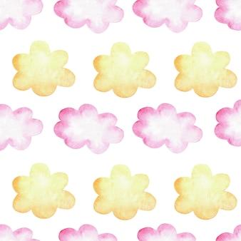 ピンクと黄色の雲と水彩のシームレスなパターン。