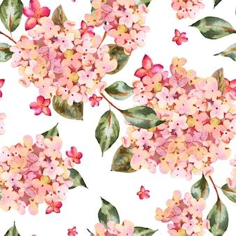 ピンクの咲くアジサイ、小さな野生の花の水彩画のシームレスなパターン。
