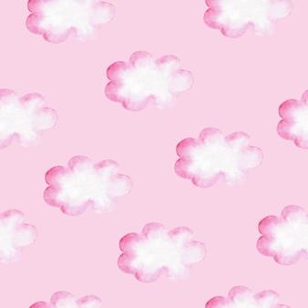 핑크 구름 수채화 완벽 한 패턴입니다. 여자 아기를 위한 그림입니다.