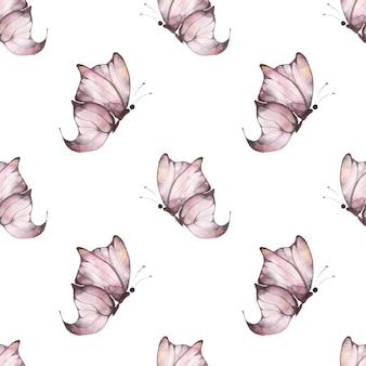 白い背景にピンクの羽ばたき蝶、ポストカード、ファブリック、パッケージの夏のイラストと水彩のシームレスなパターン。
