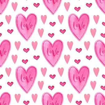 Watercolor seamless pattern with pink hearts. painted romantic backdrop.