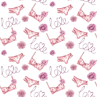 Watercolor seamless pattern with pink lingerie set and roses