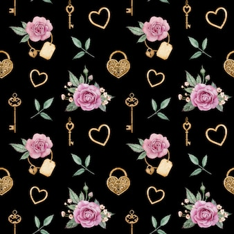 Watercolor seamless pattern with pink roses and golden locks and keys. romantic background. valentine's day love pattern.