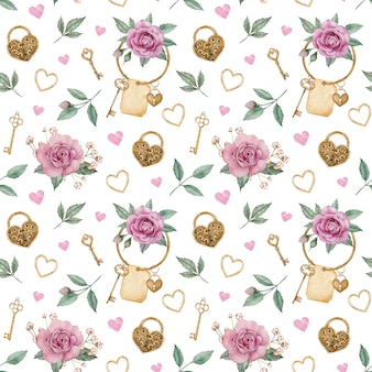 Watercolor seamless pattern with pink roses and golden locks and keys. valentine's day love pattern.