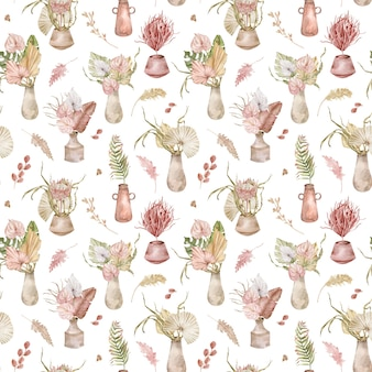 Watercolor seamless pattern with potted tropical bouquets, palm leaves, proteas and anthuriums. watercolor tropical pattern with exotic flowers.