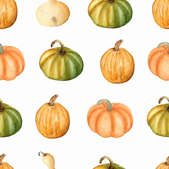 Watercolor seamless pattern with  pumpkins in green, yellow and orange colors.thanksgiving day. autumn .