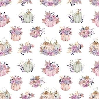 ダリアとアスターで飾られた紫のカボチャの花束と水彩のシームレスパターン