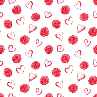 Watercolor seamless pattern with red roses and hearts on white surface