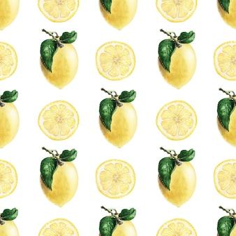 熟したイエローレモンと水彩のシームレスパターン