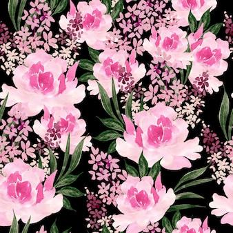 Акварель бесшовные модели с розами и цветами пиона. иллюстрация Premium Фотографии