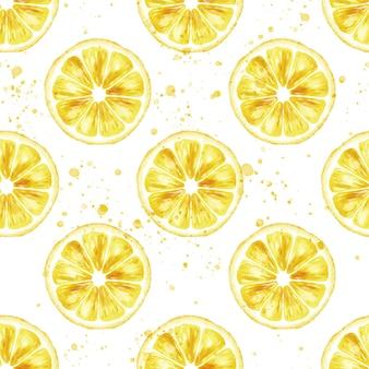 Акварель бесшовные модели с ломтиком лимона и каплями