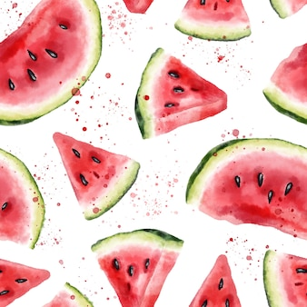 Watercolor seamless pattern with slices of watermelon. hand drawn illustration.