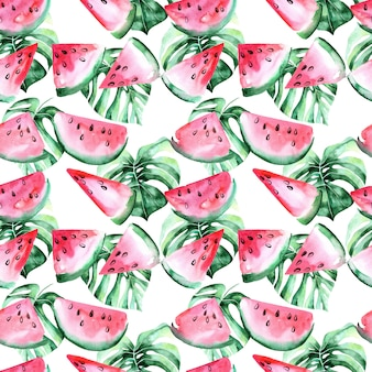 Watercolor seamless pattern with slices of watermelon and tropical leaves.