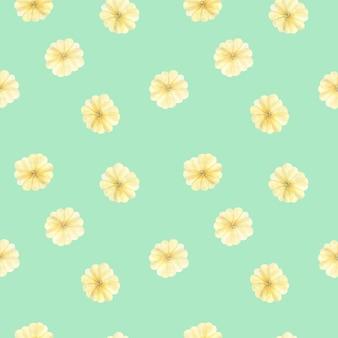 柔らかい黄色の大きな花の葉、緑の春の花と水彩のシームレスなパターン