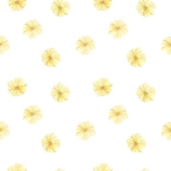 柔らかい黄色の大きな花の葉、白の春の花と水彩のシームレスなパターン