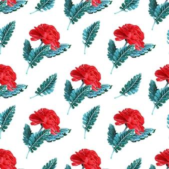 Акварель бесшовный фон с весенними цветами, бутонами и ветками с листьями