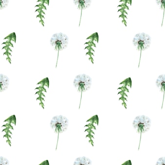 Watercolor seamless pattern with stylized dandelion plant