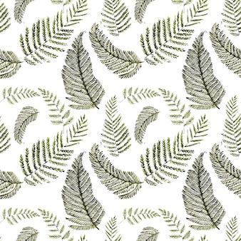 様式化されたシダの葉と水彩のシームレスなパターン