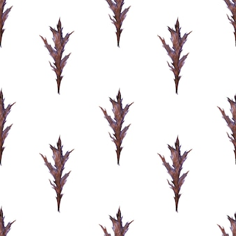 Watercolor seamless pattern with stylized thistle plant
