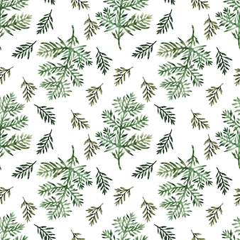 Watercolor seamless pattern with stylized wormwood plant