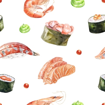 Watercolor seamless pattern with sushi, shrimp and sashimi on white.