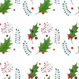Watercolor seamless pattern with traditional hand drawn christmas elements