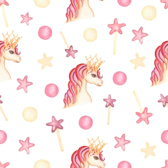 Watercolor seamless pattern with unicorn, stars and polka dot.