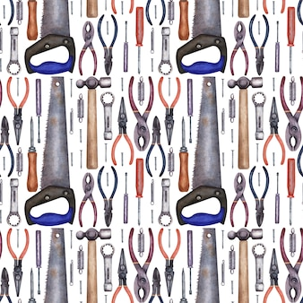 Watercolor seamless pattern with a variety of tools for repair